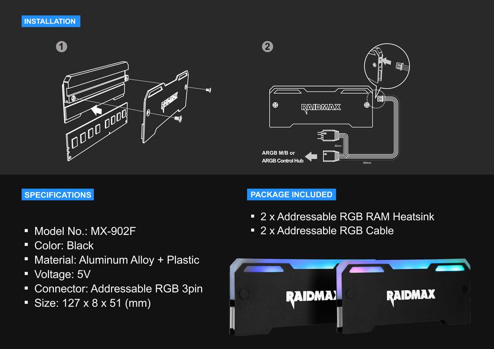 RAIDMAX MX-902F แผง Heatspreaders พร้อมไฟ RGB เพิ่มความ